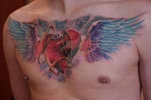 chest wingsheart by yugtattoo