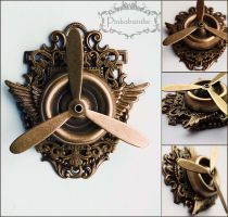 Propeller winged brooch pendant by Pinkabsinthe