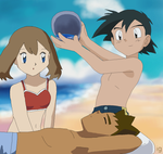 Ash, May and Brock on Beach by igtica