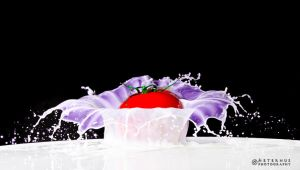 A Tomato Falling Into Milk by BlackWolfSK
