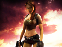 Lara Croft Sunset Wallpaper by anubis55