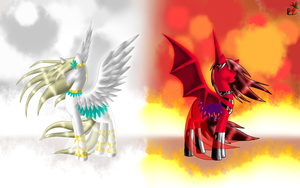 Angelic Demonic - Pegasus Opposites by fluffycawwot