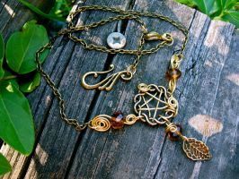 Autumn Celtic Pentacle Necklace by EireCrescent