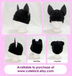 Black Fox Hat Kitsune Hat by cutekick