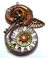 Fantasy Steampunk Pendant with Key -polymer clay by Brisbykins