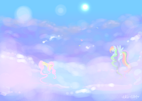 pretty ponies in the clouds by sparklyAxolotl