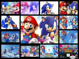 Mario and Sonic Collage by SonicXBoom123