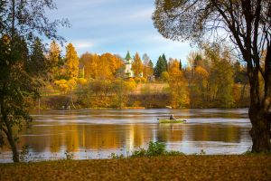 Autumn time on river by olgaFI