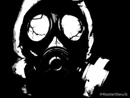 Gas Mask Stencil Battle by RoosterStencil