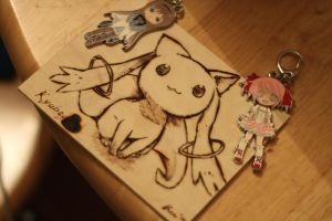 Madoka Magica Kyubey Pyrography [GIVEAWAY CLOSED] by SpicaRy