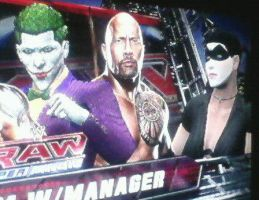 WWE '13: The Joker, The Rock And Harley Quinn by TheRumbleRoseNetwork