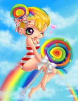 Rainbow Lollipop Girl by ChildOfMoonlight