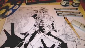 Inking Process Cpt. America 2 by DaveLungArt