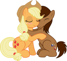 Applejack hugs Trailblazer by Ten-kara