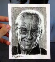Stan Lee mini Pencil Drawing by AtomiccircuS