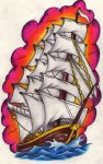 Ship tattoo by Nevermore-Ink