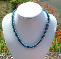 Silver and blue chainmaille necklace by TerraNovaJewels