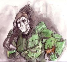 Master Chief John 117 sans hat by Drunkfu