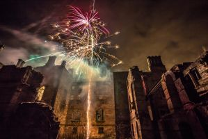 Fireworks in the ruins of Dunmore Park House by BusterBrownBB