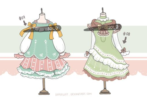 [CLOSED] Adoptable Set 4 - Sweets Colors by Demifluff