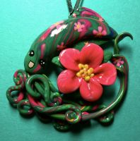 Hibiscus Squid Necklace by BlackMagdalena