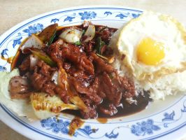 Black Pepper Beef with Egg and Rice by nosugarjustanger