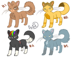 Cat Adoptables, Batch #3 (New Lineart!) by Angiebutt