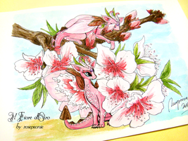 Illustration - Peach blossom dragons with flowers by rosepeonie