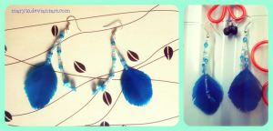 Handmade blue feather earrings by Maryl0