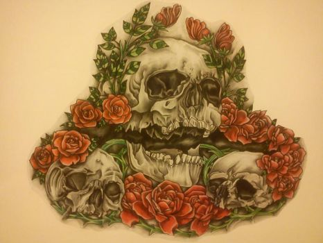 skull and roses tattoo design by craig297060