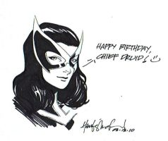 Huntress Birthday Greeting by wrathofkhan