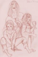 Sketch-Ladies of House Stark by Kittchi