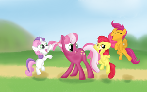 Cheerilee and the Cutie Mark Crusaders +background by pukihontasz