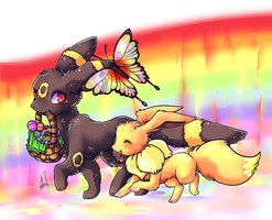 Eevee and umbreon by Kurohi-tyan