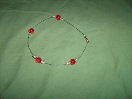 Red, silver and black anklet by moordred-fangirl