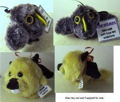 $ Fuzzyball and owlie for sale by Rahball