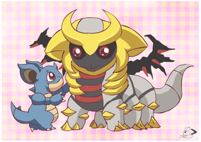 Nidoqueen and Giratina by pichu90
