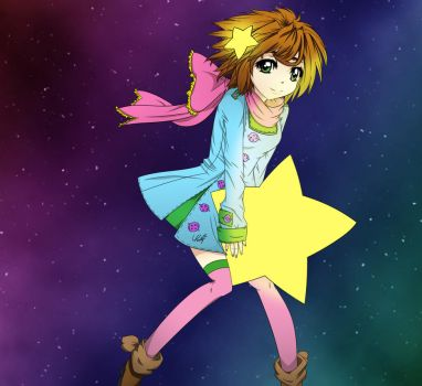 Shooting Star Line Art Colored by INEEDHELP-DRAWING