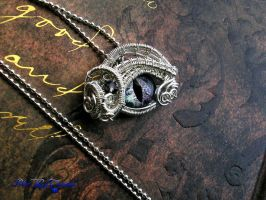 ColorShifting Dragon Eye - Sterling Silver Pendant by LadyPirotessa