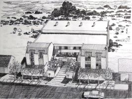 pen drawing house and beach by wwei