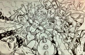 Thor and Red Sonja by cristianosuguitani
