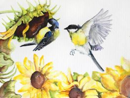 great tit and sunflowers by Kakiaart