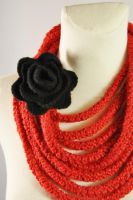 Red Crochet Infinity Scarf with Black Felted Rose by NitkaAG