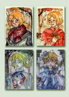 Hetalia ACEOs by a-lonely-me