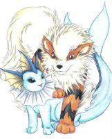 Vaporeon and Arcanine by ladydragon17