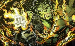 Hulk V Ghost Rider Color by lroyburch