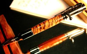 Bullet Pen in handcrafted zebra and padauk woods by HopeAndGracePens