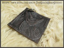 Embossed Leather Anubis Keyring by ImogenSmid