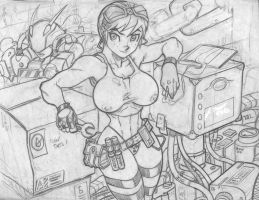Garage girl sketch by ONELOUSYCAT