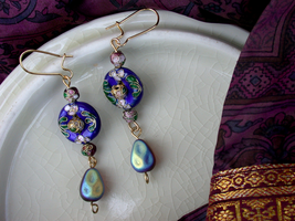 Sapphire/Plum/Gold Cloisonne Earrings (sold) by ArtLoDesigns